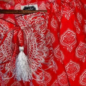Mud Pie Dresses - Mud pie red paisley ruffle dress